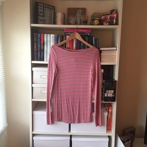 Anthropologie Blue & Coral Striped T-Shirt